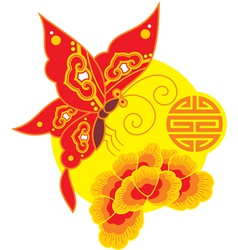 Chinese Style Butterfly and Flower vector