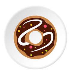 chocolate donut icon circle vector image