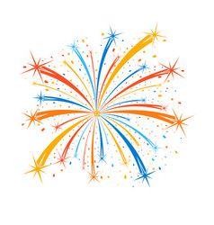 Colorful firework on white background vector