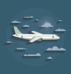 concept of detailed airplane flying through clouds vector image