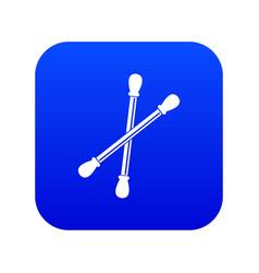 Cotton buds icon digital blue vector