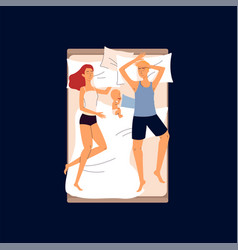 Couple sleeping in one bed with a ba- cartoon vector