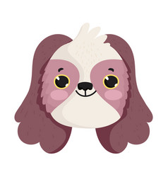 cute dog face little mascot cartoon character pets vector image