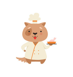 cute dog in chef uniform holding delicious dish vector image