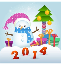 Cute Snowman and Christmas tree with gifts vector image