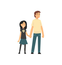 dad and son holding hands father and his child vector image