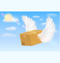 Delivery corrugated carton box with flying wing vector