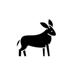 donkey black icon sign on isolated vector image