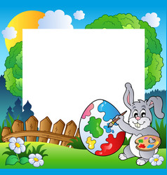 easter frame with bunny artist vector image