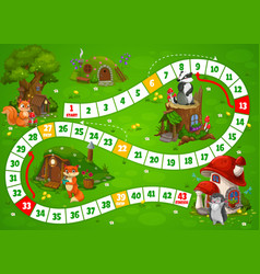 Fairy houses and dwellings boardgame step riddle vector