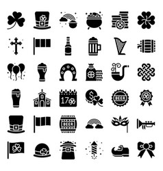 feast of saint patrick set solid icon vector image