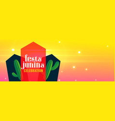 festa junina holiday banner with cactus plant vector image