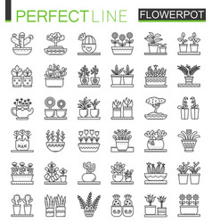 Flowers in pots outline concept symbols flowerpot vector
