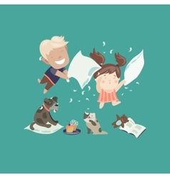 Funny kids having a pillow fight vector