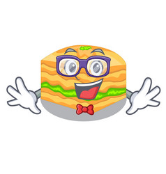 Geek cartoon baklava on the wooden boards vector