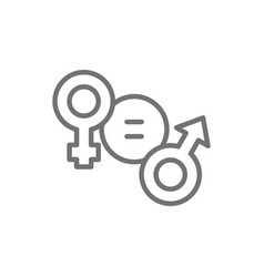 Gender equality female and male symbol line icon vector