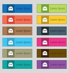 Ghost icon sign Set of twelve rectangular colorful vector