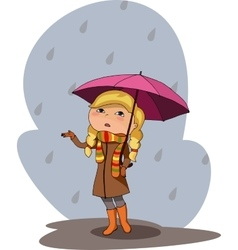 girl pink umbrella rainy grey day vector image