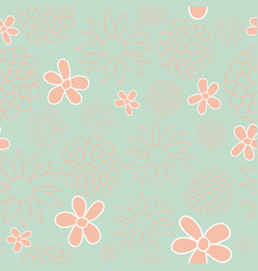 green and peach floral seamless pattern design vector image