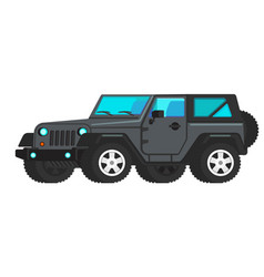 Grey car suv icon flat travel tourist vector