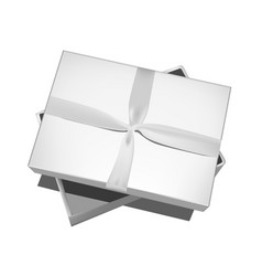 Grey gift box with bow isolated on white vector