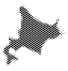 Halftone dot hokkaido island map vector