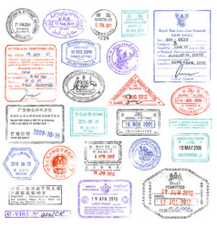 high quality grunge passport stamp collection vector image