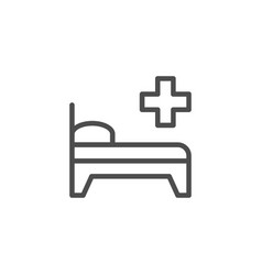 hospital bed line icon vector image