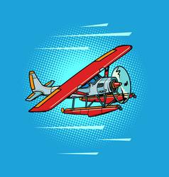 hydroplane passenger water propeller plane retro vector image