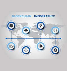 Infographic design with blockchain icons vector