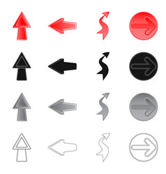 isolated object of element and arrow logo set of vector image