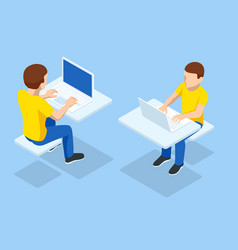Isometric boy at computer front and back view vector