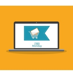 Laptop of cyber monday and shopping design vector