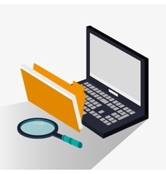 Laptop with lupe and seo design vector