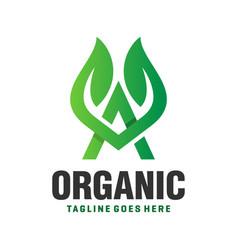 leaf logo design letter av vector image