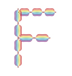 Letter F made in rainbow colors vector image