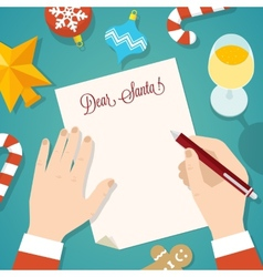 Letter to Santa Flat Style Christmas Card or vector image