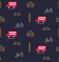 London city theme child dark blue seamless vector