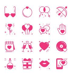 Love line icons set happy valentine s day pink vector