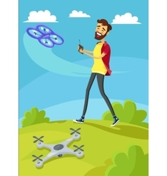 Man Controls the Drone on Lawn vector image