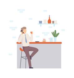 man near bar talking on phone vector image
