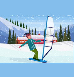 man windboarding windsurfing on snow over small vector image