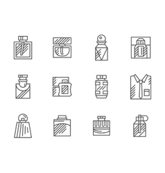 Mens fragrance black line icons set vector
