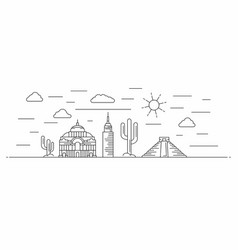 mexico panorama line style vector image
