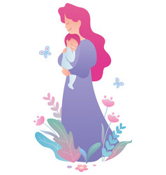 mother and baon white vector image