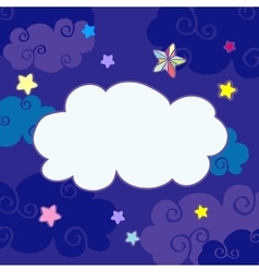 nighttime cartoon clouds frame vector image