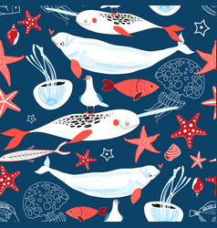 pattern sea whales and fish vector image