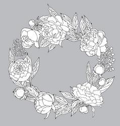 Peony wreath black and white vector