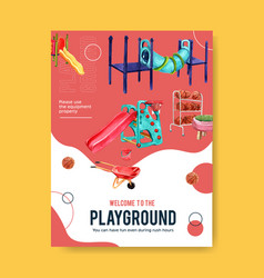Playground poster design with tunnel basketballs vector