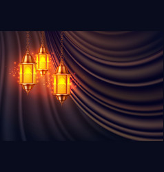 ramadan kareem lantern realistic curtain vector image